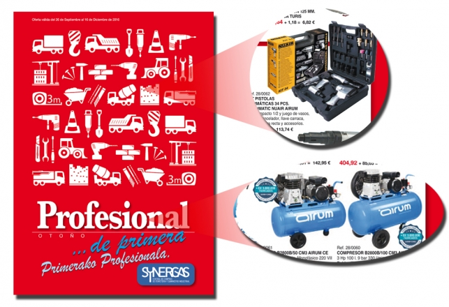 Nuevo Folleto Synergas Profesional 2016 con compresores Airum 65
