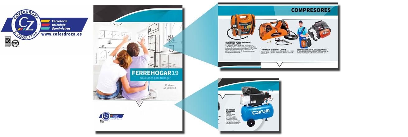Nuevo folleto cooperativa Coferdroza ferrehogar 19 con compresores Airum y revolutionair 162