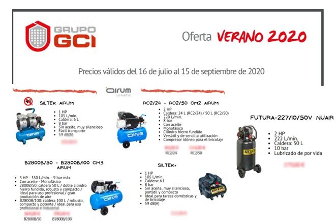 Folleto GCI Verano 2020 con compresores Airum y Nuair 211
