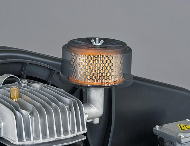 Filtro de aspiración de grandes dimensiones estudiado para reducir el sonido y optimizar el rendimiento del compresor.