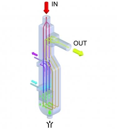 El modulo de secado ALUDRY de aluminio se encarga de dirigir todo el flujo de aire humedo a traves de una atrayectoria vertical descendente, que permite descargar asi el condensado que se forma de manera natural.
