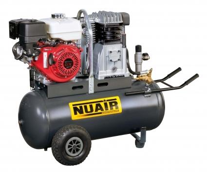Compresor de piston con motor de gasolina, supervisado por HONDA. Montados sobre depósito de 100 litros.