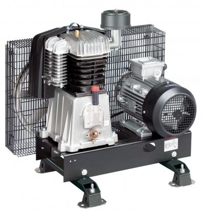 Compresores de piston,  Son bases pre-montadas indicadas para aplicaciones especiales. Incorporan el cabezal, motor eléctrico, transmisión por correa con robusta rejilla metálica protectora y base metalica.