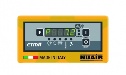Control electronico ETMII, indica: presion de trabajo, horas de trabajo y carga, estado carga/vacio, temperatura del aceite, sentido de rotacion y cuadro Estrella-Triangulo.  *4 avisos de mantenimiento.  *6 Avisos de alarma.