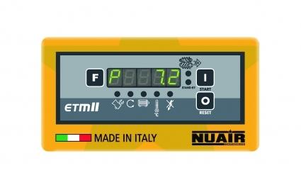 Control electronico ETMII, indica: presion de trabajo, horas de trabajo y carga, estado carga/vacio, temperatura del aceite, sentido de rotacion.  4 avisos de mantenimiento.  6 Avisos de alarma.
