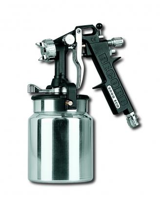 Pistola de absorcion con deposito de aluminio 1lt con cierre autoclave. Con regulador de abanico y de aire comprimido.