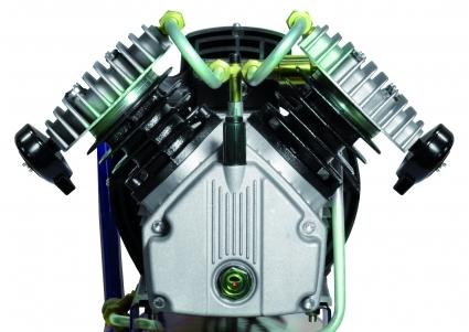 Cabezal coaxial bilicindrico en V a 2850 Revoluciones por minuto de alto rendimiento y alta fiabilidad.